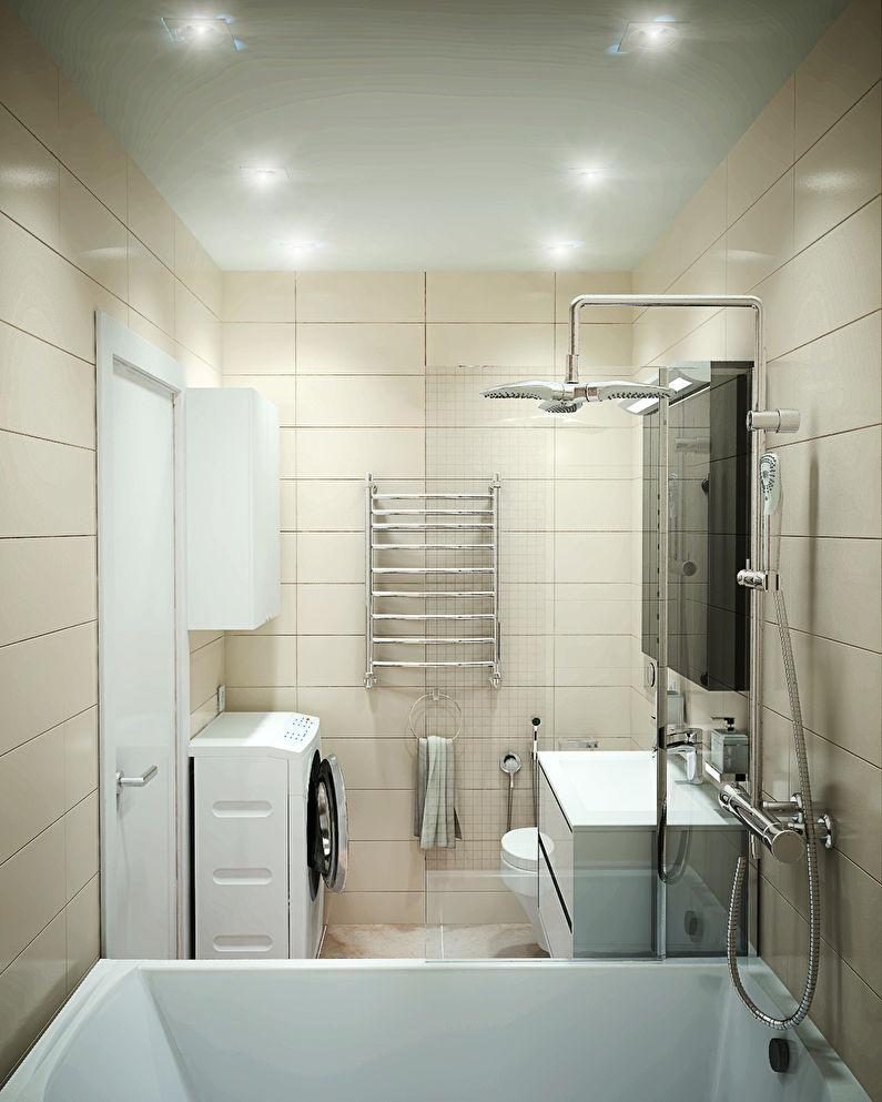 Освещение - дизайн ванной комнаты 3 кв.м.