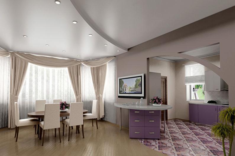 Сатиновые натяжные потолки для кухни
