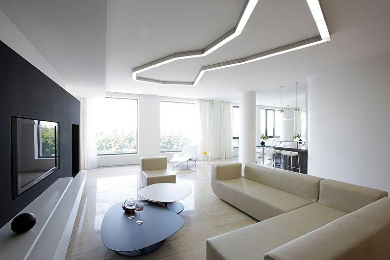 Натяжной потолок для гостиной в стиле минимализм