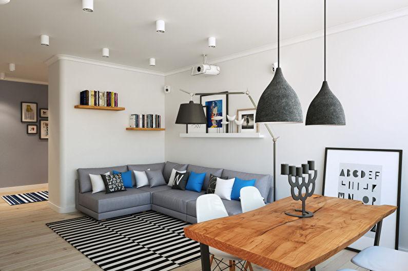 Натяжной потолок для гостиной в скандинавском стиле