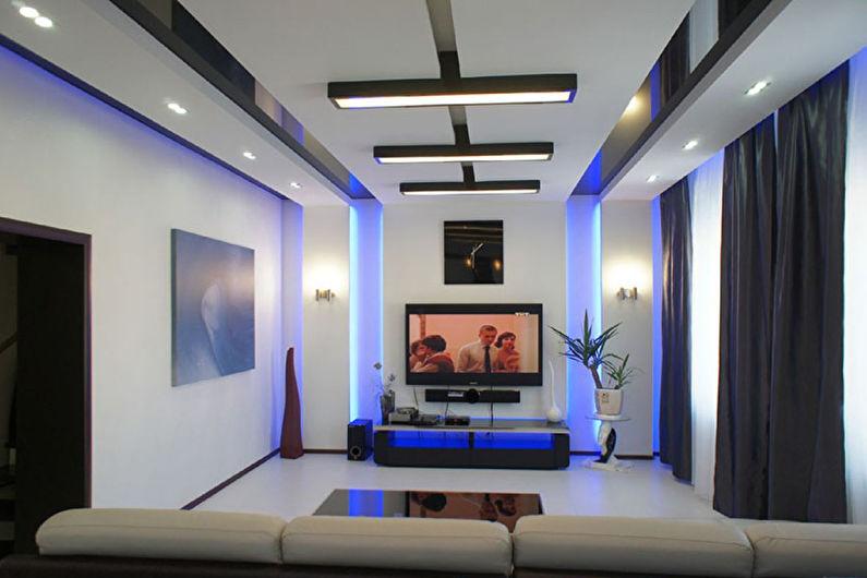 Натяжной потолок для гостиной в стиле хай-тек