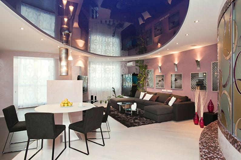 Натяжной потолок в гостиной - Яркие цвета