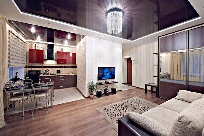 Натяжной потолок в гостиной - Освещение и подсветка