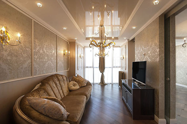 Натяжные потолки в гостиной - фото