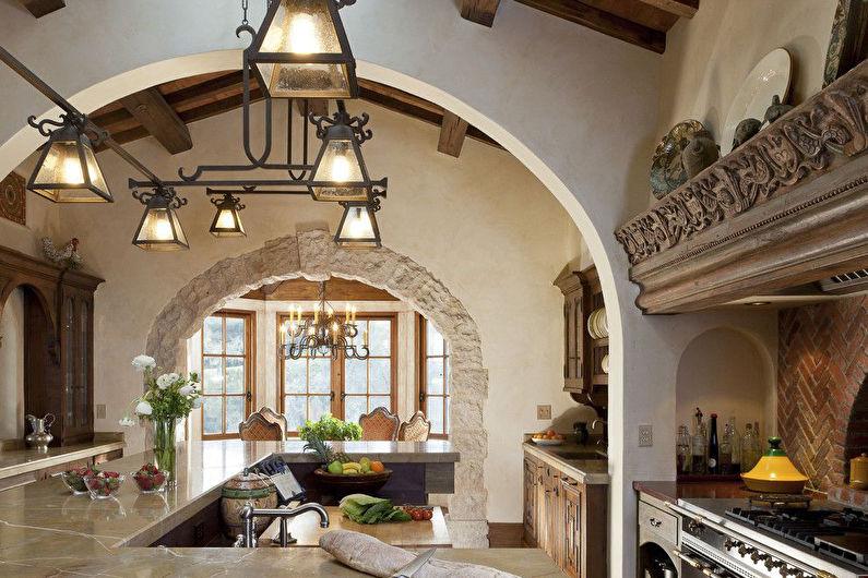 Арки и дверные проемы из камня на кухне - фото