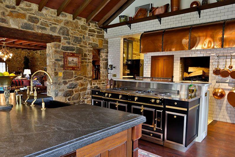 Декоративный камень в интерьере кухни - фото