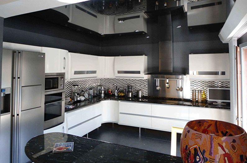 Натяжной потолок на кухне (65 фото)
