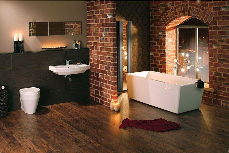 Декоративный кирпич в интерьере ванной комнаты