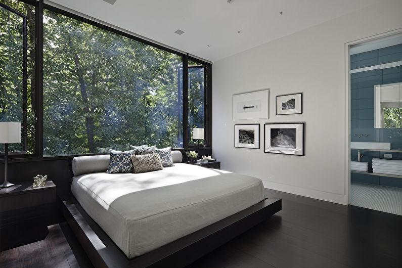 Одноуровневый потолок из гипсокартона в спальне