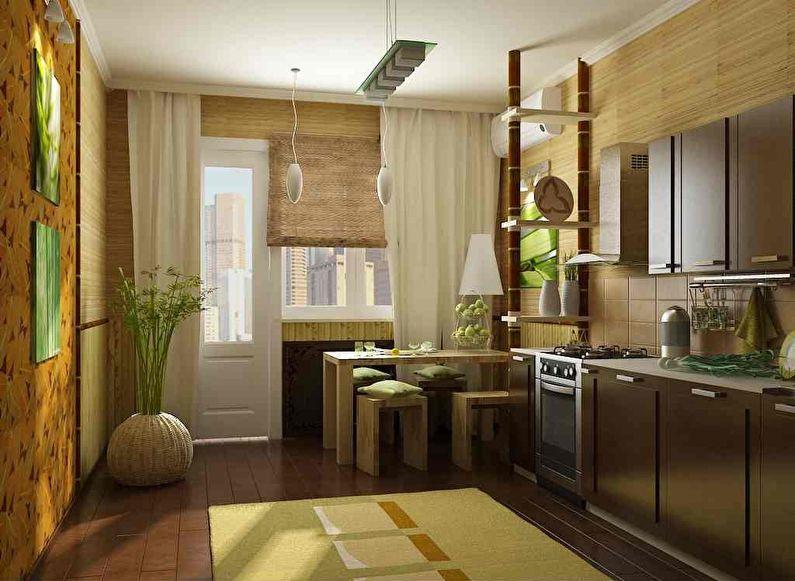 Бамбуковые обои для кухни