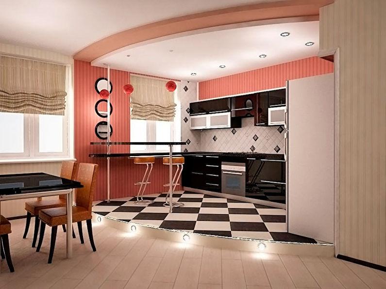 Обои для кухни, совмещенной с гостиной