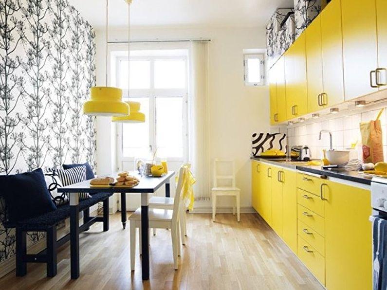Обои для желтой кухни - дизайн фото