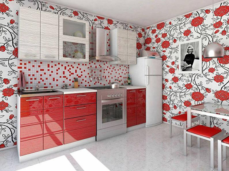 Красные обои для кухни - дизайн фото