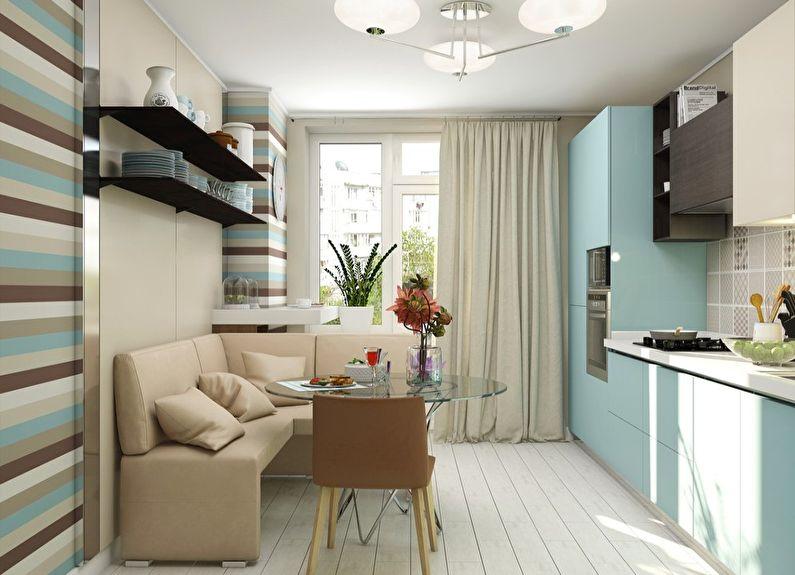 Обои в полоску для кухни в современном стиле - дизайн фото