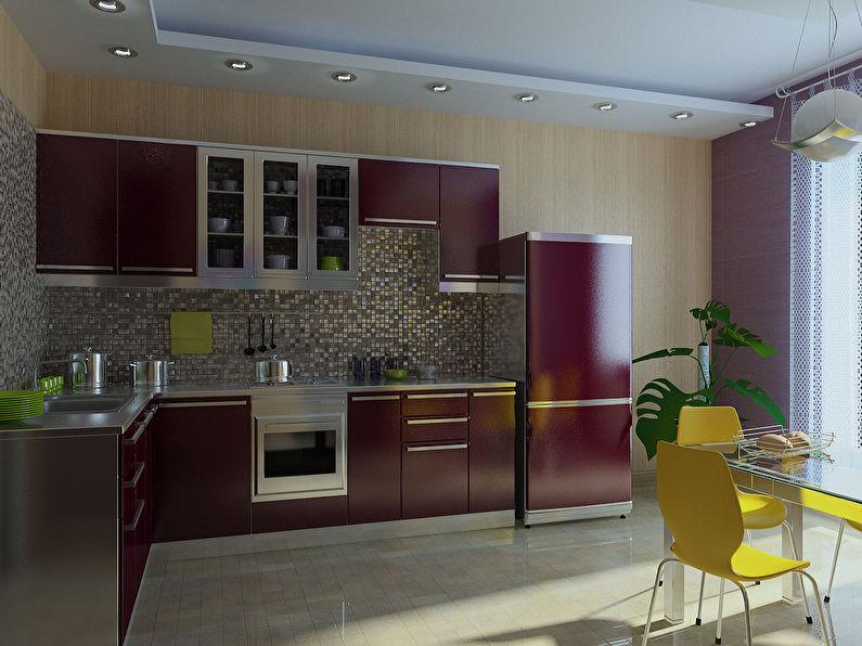 Бежевые обои для кухни - дизайн фото