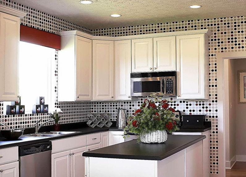 Черно-белые обои для кухни - дизайн фото