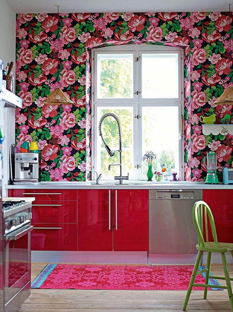 Обои для красной кухни - дизайн фото