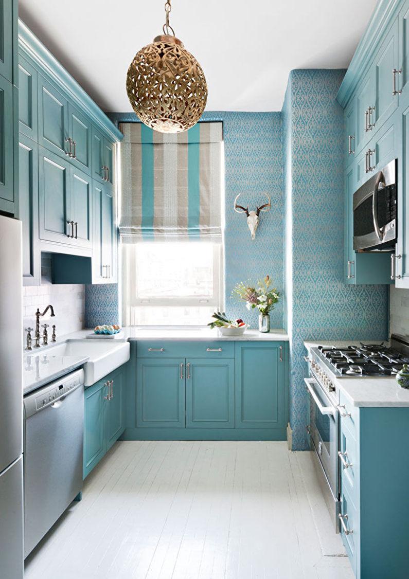 Бирюзовые обои для кухни - дизайн фото