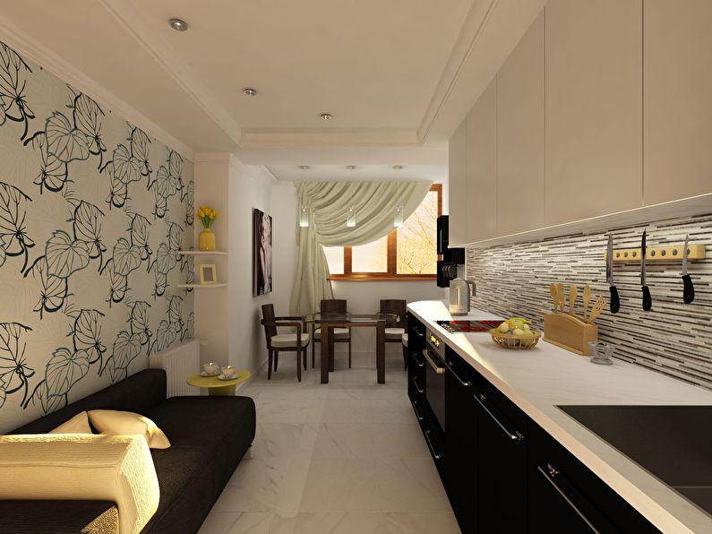 Светлые обои для черно-белой кухни - дизайн фото