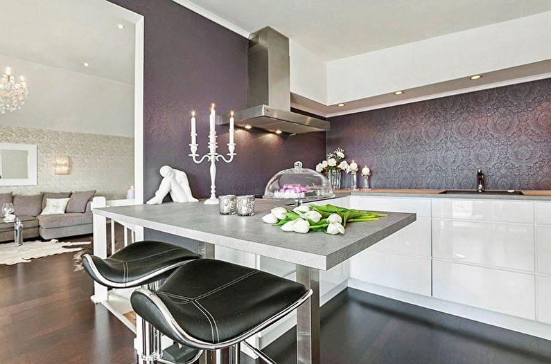 Фиолетовые обои для белой кухни - дизайн фото