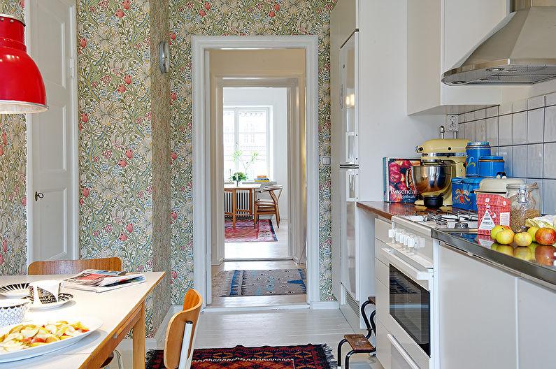 Обои для маленькой кухни в современном стиле - дизайн фото