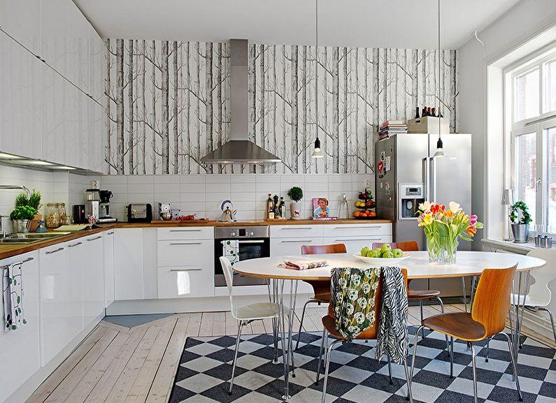 Бело-серые обои для кухни - фото