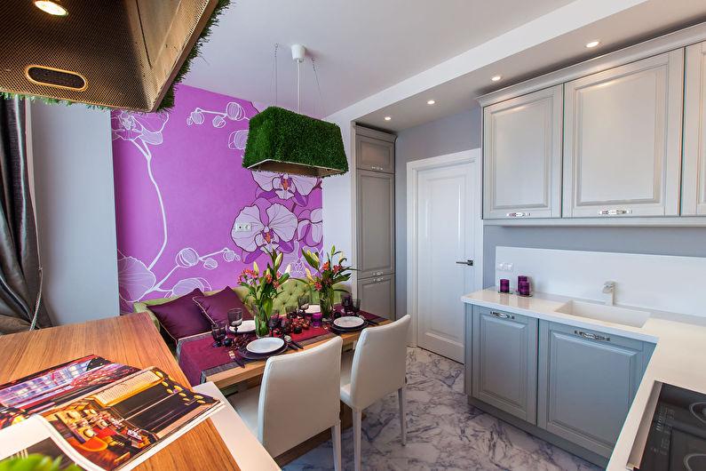 Розовые обои для кухни в современном стиле - дизайн фото
