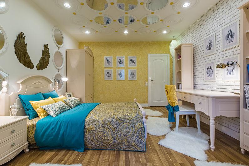 Декоративный камень в интерьере детской комнаты - фото