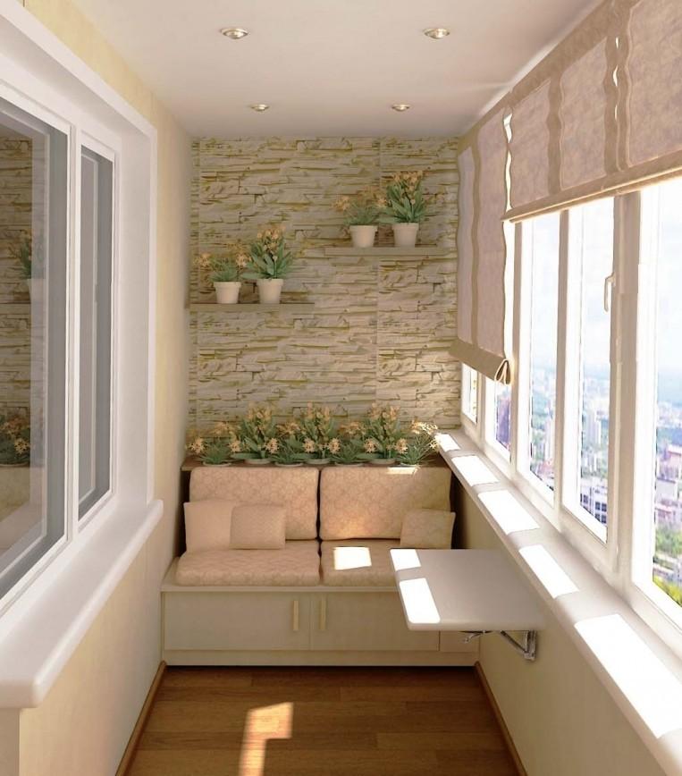 Декоративный камень в интерьере балкона и лоджии - фото