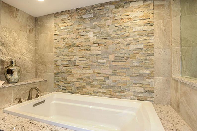 Декоративный камень в интерьере ванной комнаты - фото