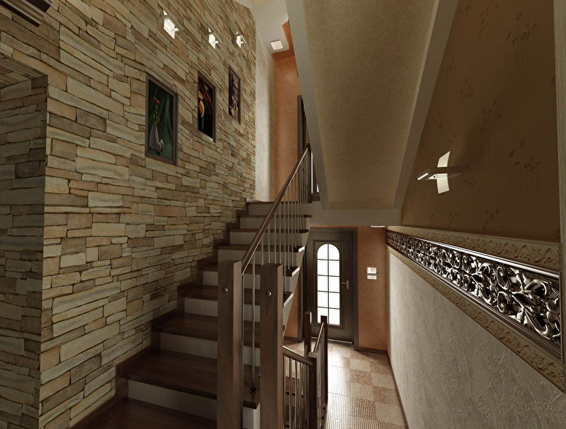 Отделка лестницы декоративным камнем - фото