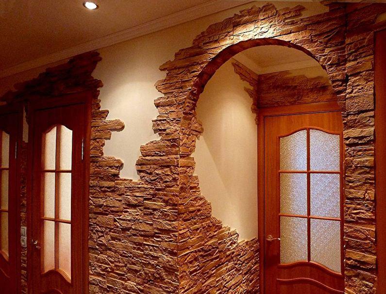Отделка прихожей и коридора декоративным камнем - фото