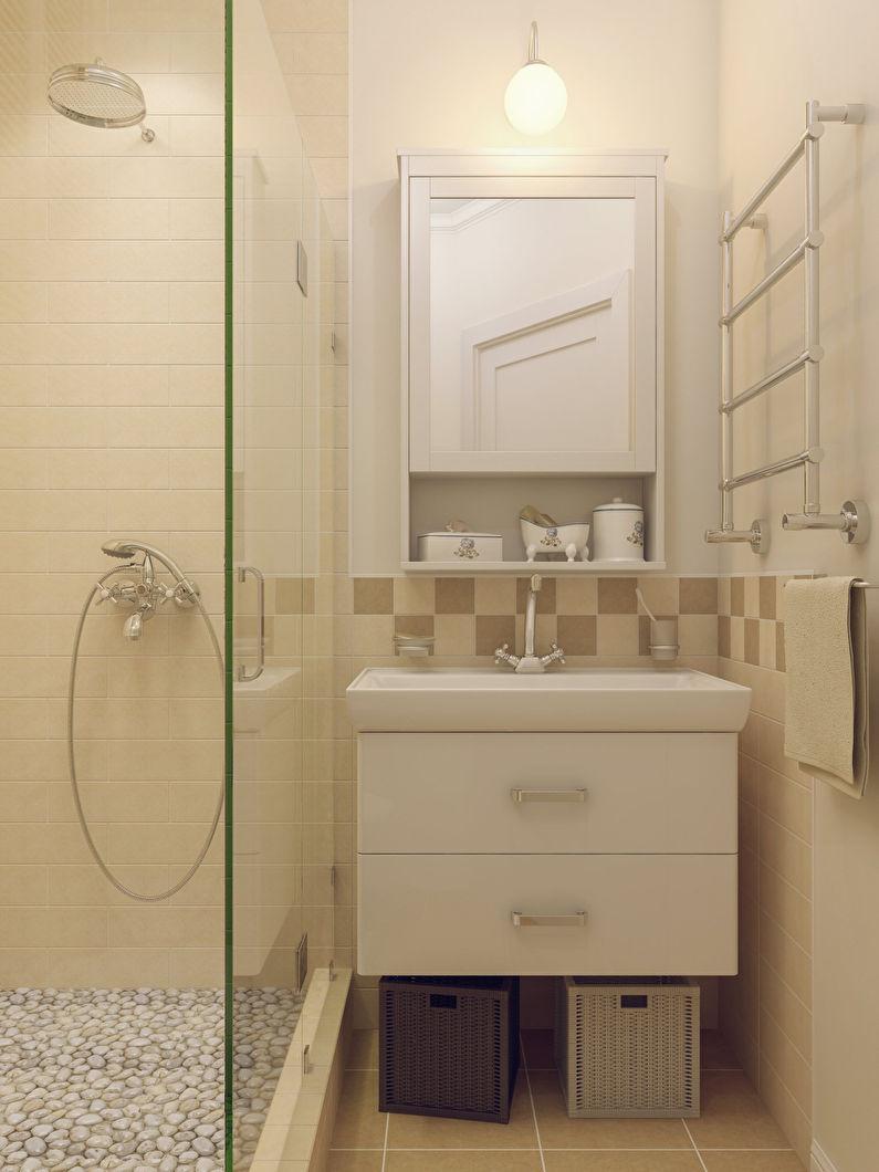 Отделка стен - дизайн ванной 3 кв.м.