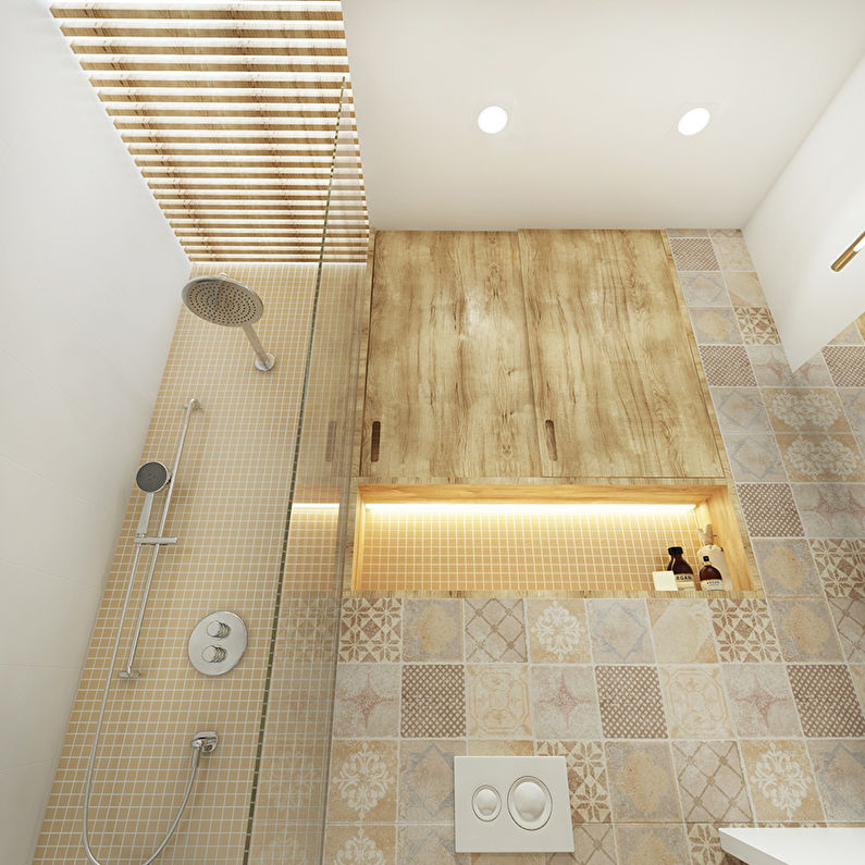 Дизайн потолка в ванной 3 кв.м. - фото