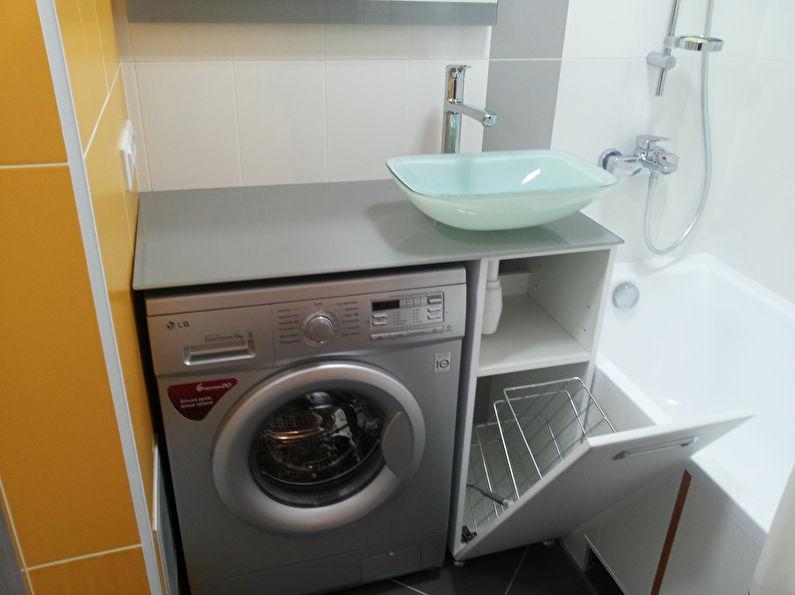 Стиральная машинка под раковиной - дизайн ванной комнаты 3 кв.м.