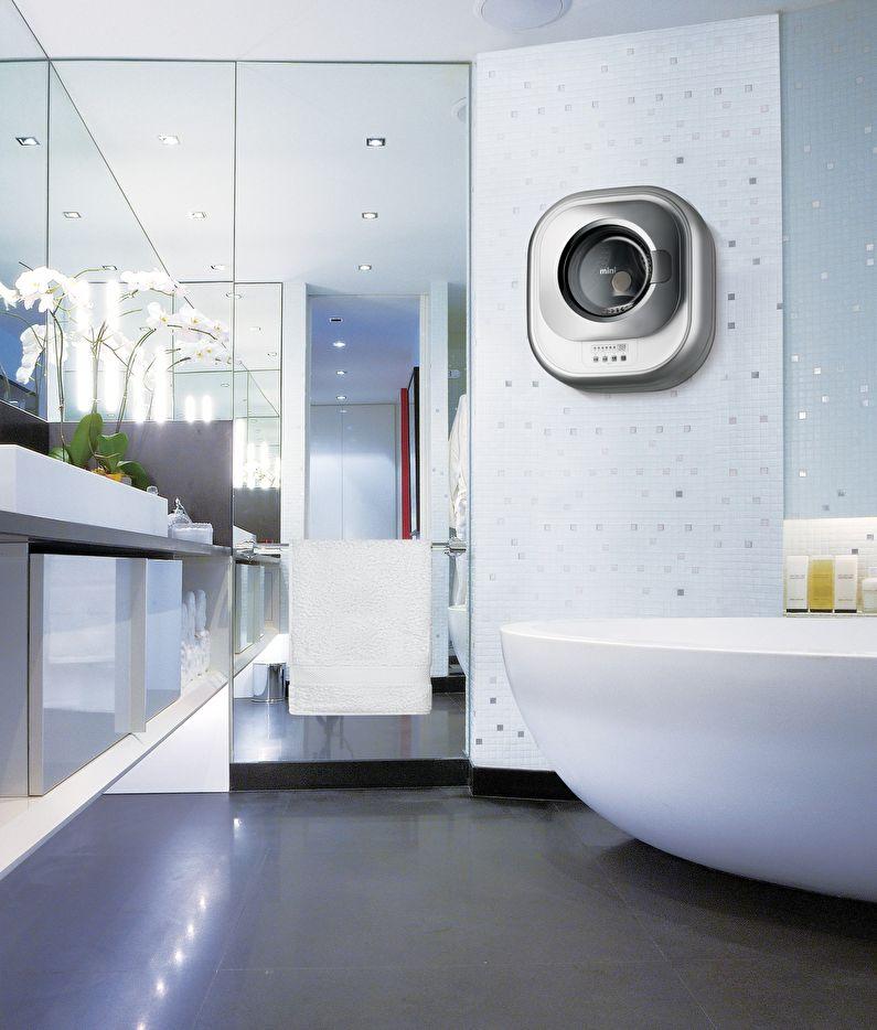 Подвесная стиральная машинка в интерьере ванной - фото