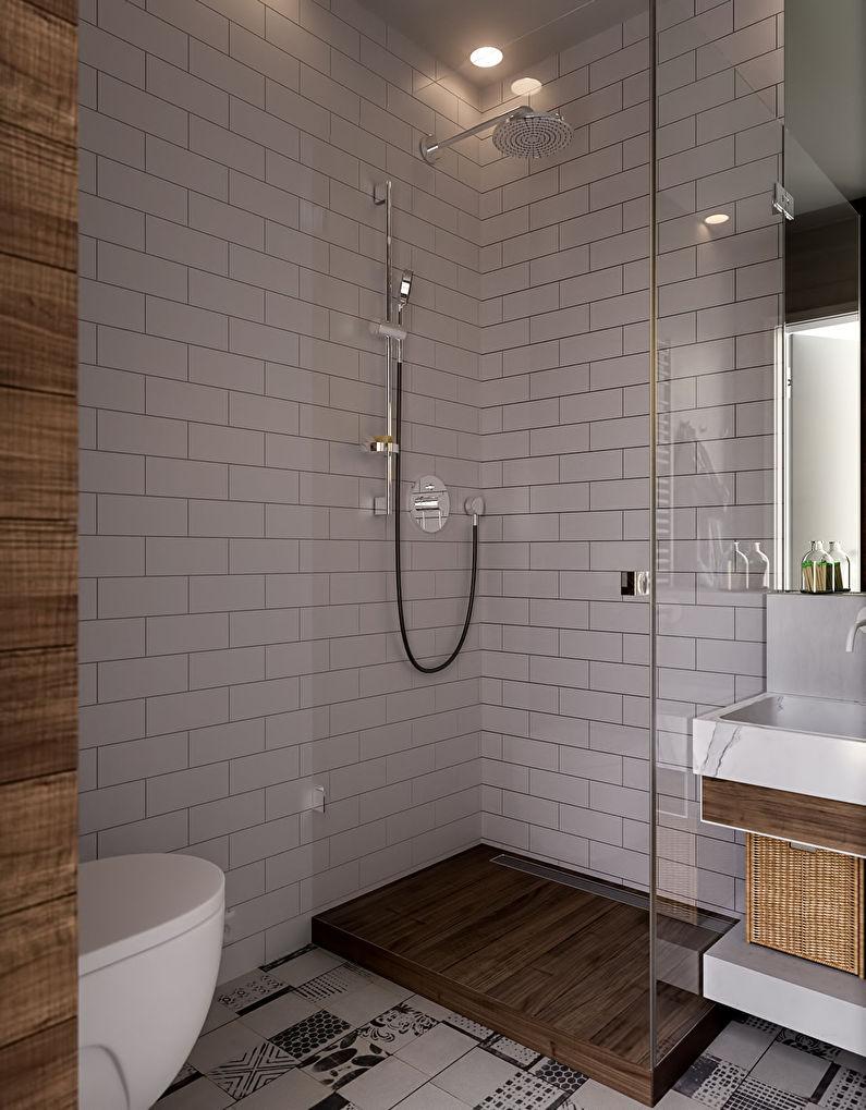 Дизайн ванной комнаты 3 кв.м. в скандинавском стиле - фото