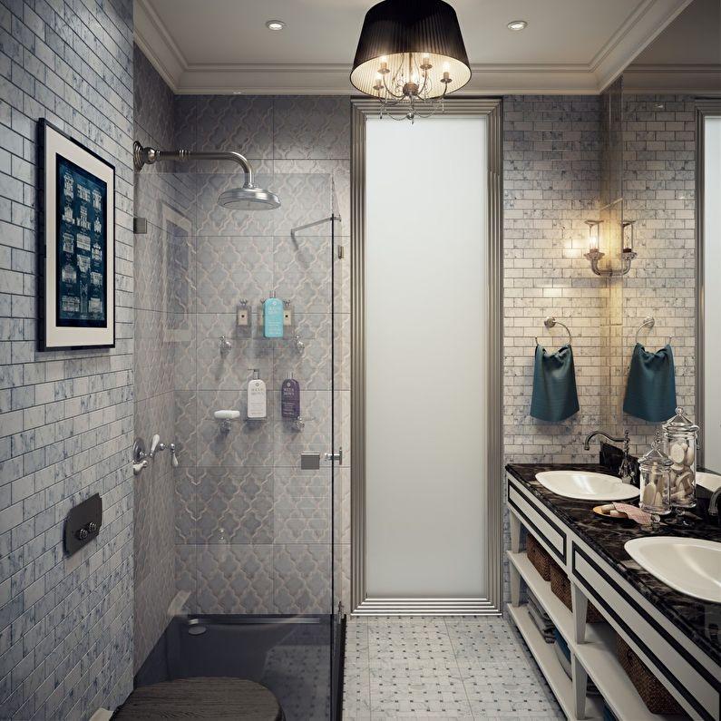 Дизайн ванной комнаты 3 кв.м. в серых тонах - фото