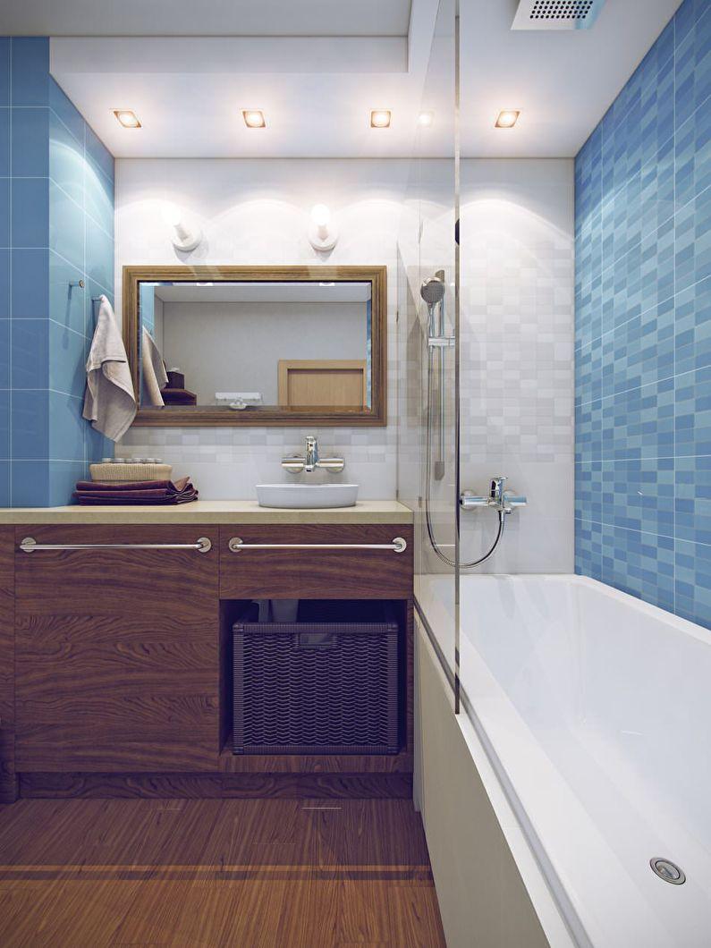 Дизайн ванной комнаты 3 кв.м. в синих тонах - фото