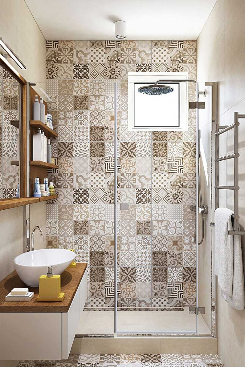 Дизайн ванной комнаты 3 кв.м. в бежевых тонах - фото