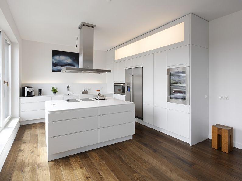 Белая кухня в стиле минимализм - фото