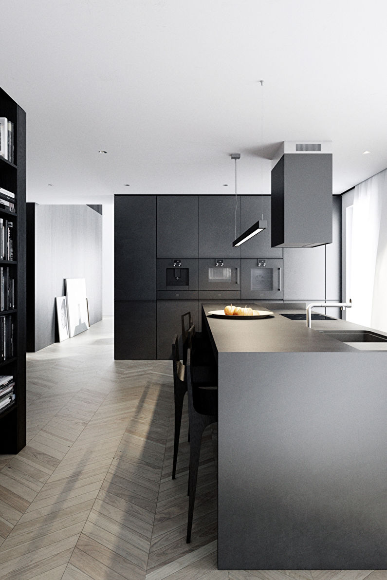 Черная кухня в стиле минимализм - фото