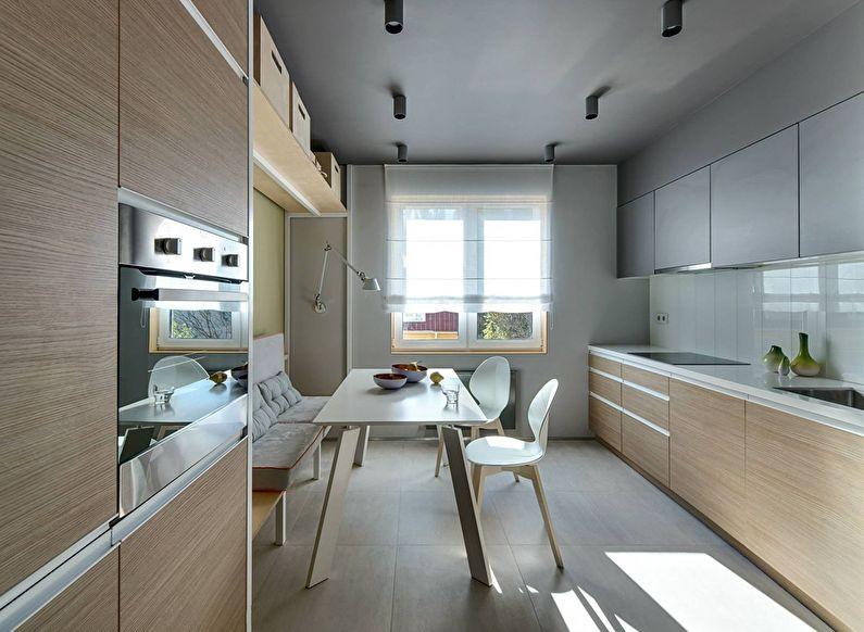 Бежевая кухня в стиле минимализм - фото
