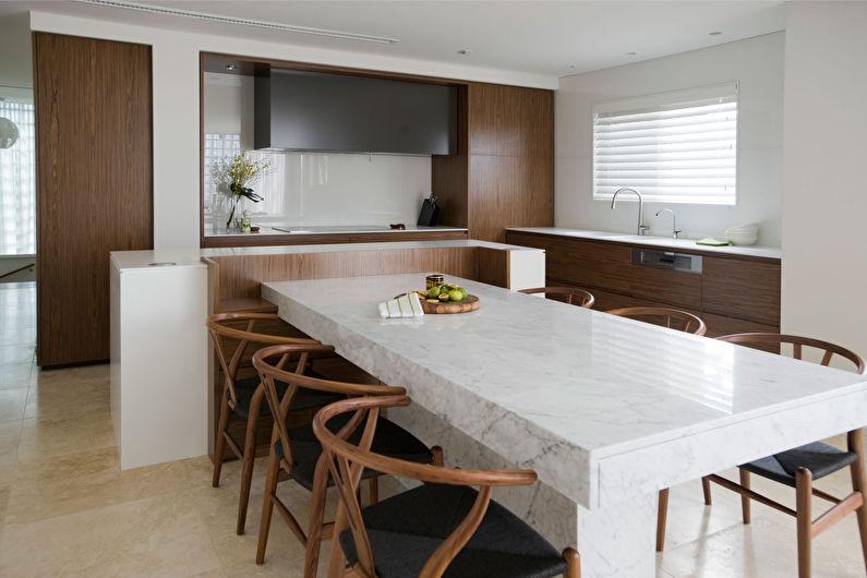 Коричневая кухня в стиле минимализм - фото