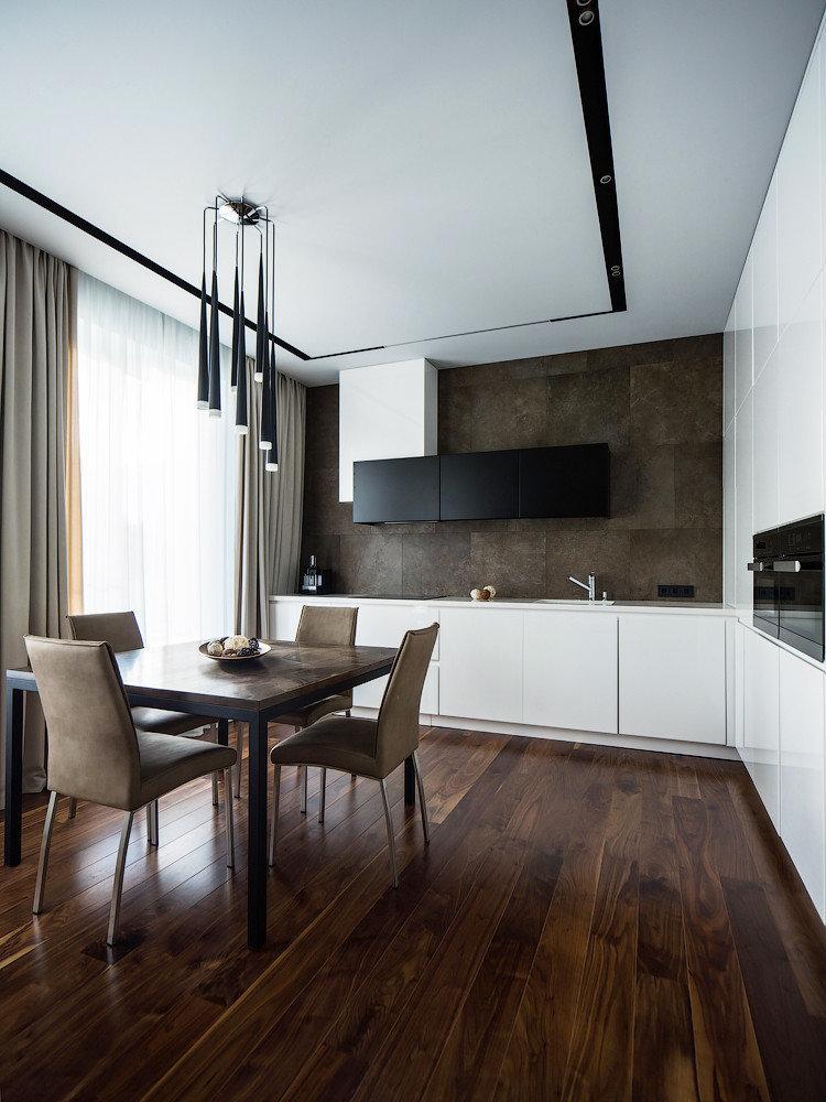 Дизайн потолка - кухня в стиле минимализм