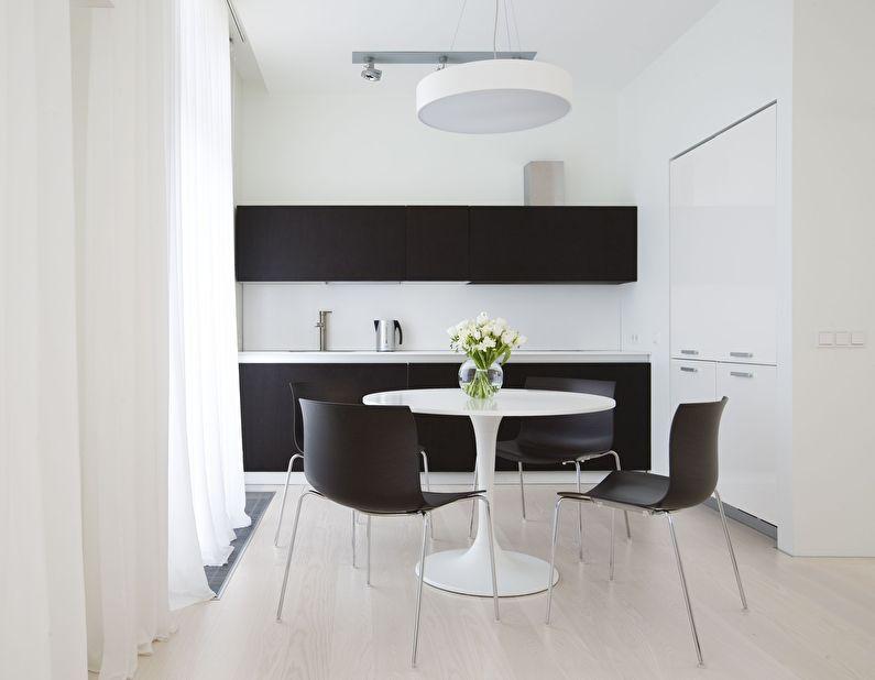 Обеденная зона - дизайн кухни в стиле минимализм
