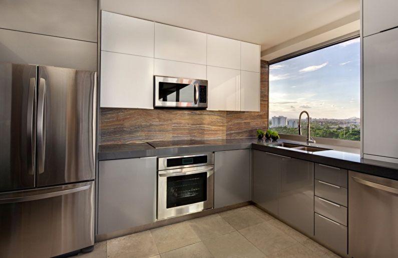 Холодильник - дизайн кухни в стиле минимализм