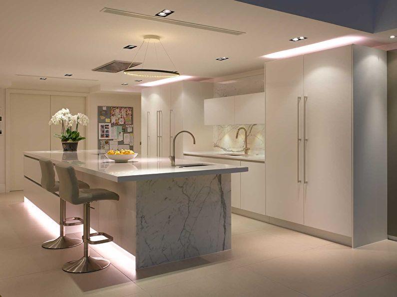 Правильное освещение на кухне в стиле минимализм