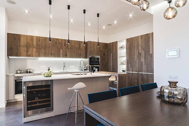 Дизайн просторной кухни в стиле минимализм - фото
