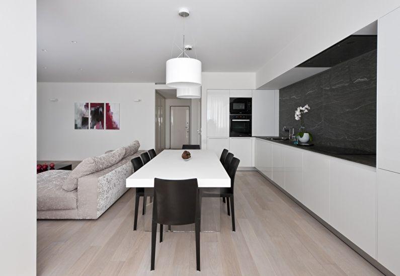 Дизайн кухни-гостиной в стиле минимализм - фото